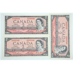 Lot of (3) Bank of Canada 1954 Two Dollar Notes UN