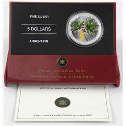 .9999 Fine Silver $5.00 Coloured - Maple Leaf