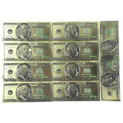Lot (10) 24 Karat Gold Leaf USA 100.00 Collector N