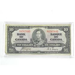 Bank of Canada 1937 - Ten Dollar Note. C/T