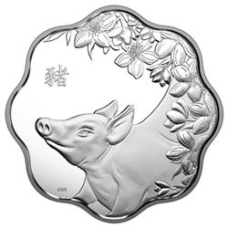 2019 $15 Lunar Lotus: Year of the Pig - Pure Silve