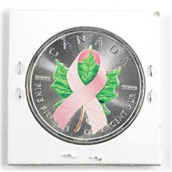 .9999 Fine Silver 2014 Maple Leaf Coin $5.00 Pink Ribbon