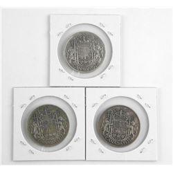 Lot (3) Canada 50 Cent 1937-1938-1939