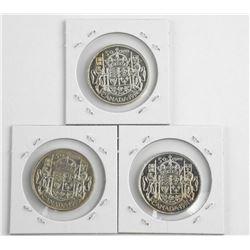 Lot (3) 1947, 1951, 1952 Canada Silver 50 Cent