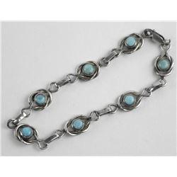 Estate 925 Silver Bracelet with Cabochon TurquoiseåÊ