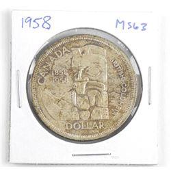 1958 Canada Silver Dollar. MS63