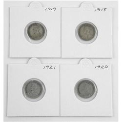 Lot (4) George Silver 10 Cents: 1918, 1919, 1920, 1921