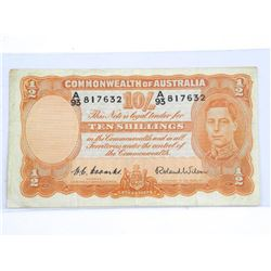 Commonwealth of Australia 1952 10 / Shillings (VG) # 25d. USD CAT 275