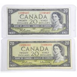Lot (2) Bank of Canada 1954 20.00 Modified Portrait. 2 Signature Sets