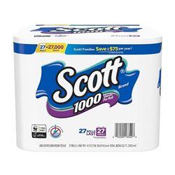 Scott 1000 Sheets Per Roll Toilet Paper- 27 Rolls- Bath Tissue