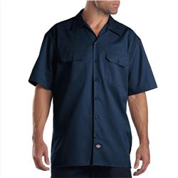 Dickies Mens Short Sleeve Work Shirt- Navy- Large