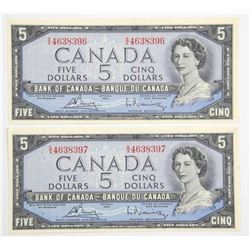 (LUN 21) Lot (3) Bank of Canada 1954 Five Dollar N