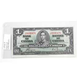 (LUN 20) Bank of Canada 1937 One Dollar Note. C/T