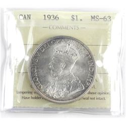 (LUN 2) 1936 Canada Silver Dollar. MS-63. ICCS. (S