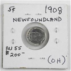 (LUN 15) 1908 Silver 5 Cent Coin (AU55) OH (MXR)