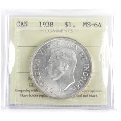 1938 Canada Silver Dollar MS-64. ICCS (IER)