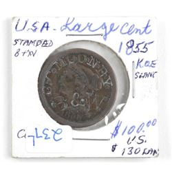 (LUN 10 1855 USA One Cent; (VF) 'K' and E Slant St