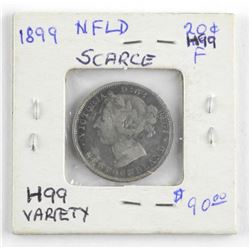 (LUN 13) 1899 NFLD Silver 20 Cent - H99 Variety (F