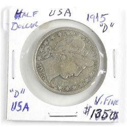 (LUN 12) 1915 (D) USA Silver 50 Cents. (VF) (SOE)