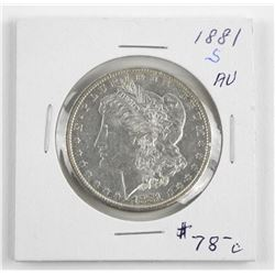 (LUN 08) 1881 (S) USA Silver Morgan Dollar, MS62.