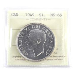 (LUN 05) 1949 Canada Silver Dollar MS-65. ICCS (SS