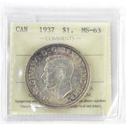 1937 Silver Dollar MS63. ICCS