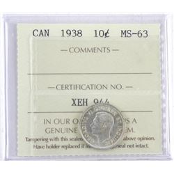 1938 Canada 10 Cent MS63. ICCS. (SME)