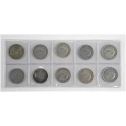 Lot (10) Canada Silver 50 Cent 1940s and 1950s