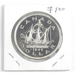 1949 Canada Silver Dollar Coin