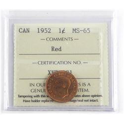 1952 Canada 1 cent MS65 ICCS.