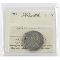 1927 Canada Silver 25 Cent F-15 ICCS.