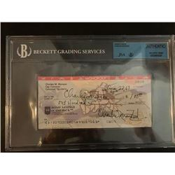 Beckett Charles Manson Double-Signed Check