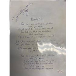 "John Lennon ""Revolution"" Signed Lyrics"