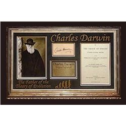 Charles Darwin Signed Collage