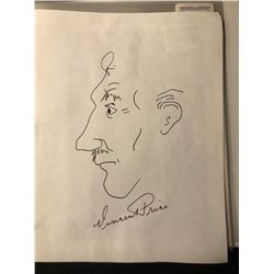 Vincent Price Signed and Drawn Sketch