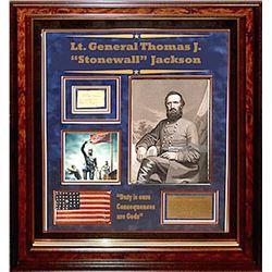 "Lt. General Thomas J. ""Stonewall"" Jackson Framed Signature Collage"