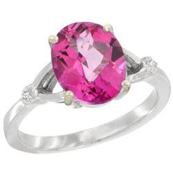 Natural 2.41 ctw Pink-topaz & Diamond Engagement Ring 10K White Gold - REF-24H6W