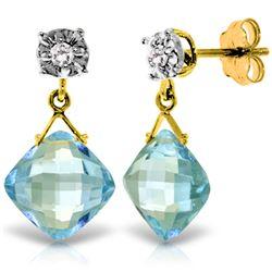 Genuine 17.56 ctw Blue Topaz & Diamond Earrings Jewelry 14KT Yellow Gold - REF-48H3X