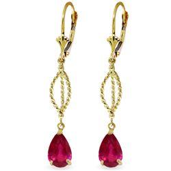 Genuine 3.5 ctw Ruby Earrings Jewelry 14KT Yellow Gold - REF-55Z3N