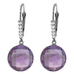 Genuine 10.75 ctw Amethyst & Diamond Earrings Jewelry 14KT White Gold - REF-37V8W