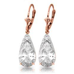 Genuine 10 ctw White Topaz Earrings Jewelry 14KT Rose Gold - REF-55X5M