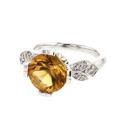 3.99 CTW Citrine & Diamond Ring 14K White Gold - REF-52N2Y
