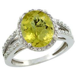 Natural 3.47 ctw Lemon-quartz & Diamond Engagement Ring 10K White Gold - REF-33K6R