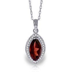 Genuine 2.15 ctw Garnet & Diamond Necklace Jewelry 14KT White Gold - REF-62M3T
