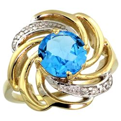Natural 2.25 ctw swiss-blue-topaz & Diamond Engagement Ring 14K Yellow Gold - REF-57H8W