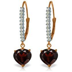 Genuine 3.55 ctw Garnet & Diamond Earrings Jewelry 14KT Rose Gold - REF-62F2Z