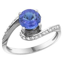 Natural 1.08 ctw tanzanite & Diamond Engagement Ring 14K White Gold - REF-60V3F