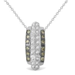 0.48 CTW Diamond & Brown Diamond Pendant 14K White Gold - REF-41R8K