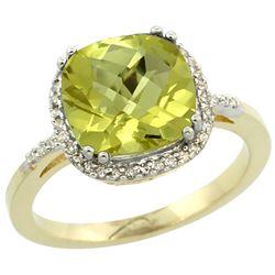 Natural 4.11 ctw Lemon-quartz & Diamond Engagement Ring 14K Yellow Gold - REF-42A9V