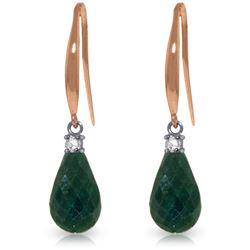 Genuine 6.7 ctw Green Sapphire Corundum & Diamond Earrings Jewelry 14KT Rose Gold - REF-28T8A